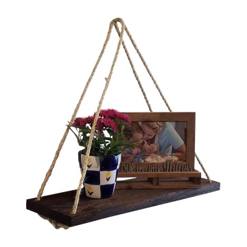 Rustic Rope Shelf Single Wood Floating Shelf Wall Hanging Shelf